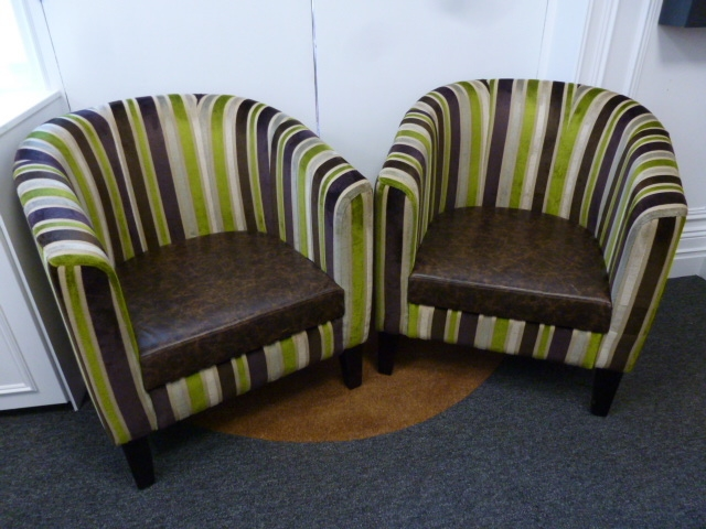 Pair of Green & Brown Tub Chairs