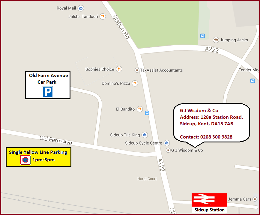 Location and parking map for G.J.Wisdom